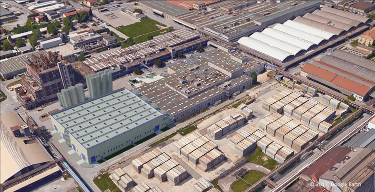 Beaulieu Fibres International's new building construction for future extension of production capacity in Terni, Italy.