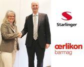 Angelika Huemer, managing partner of Starlinger & Co.and Georg Stausberg, CEO of the Oerlikon manmade fibres segment.